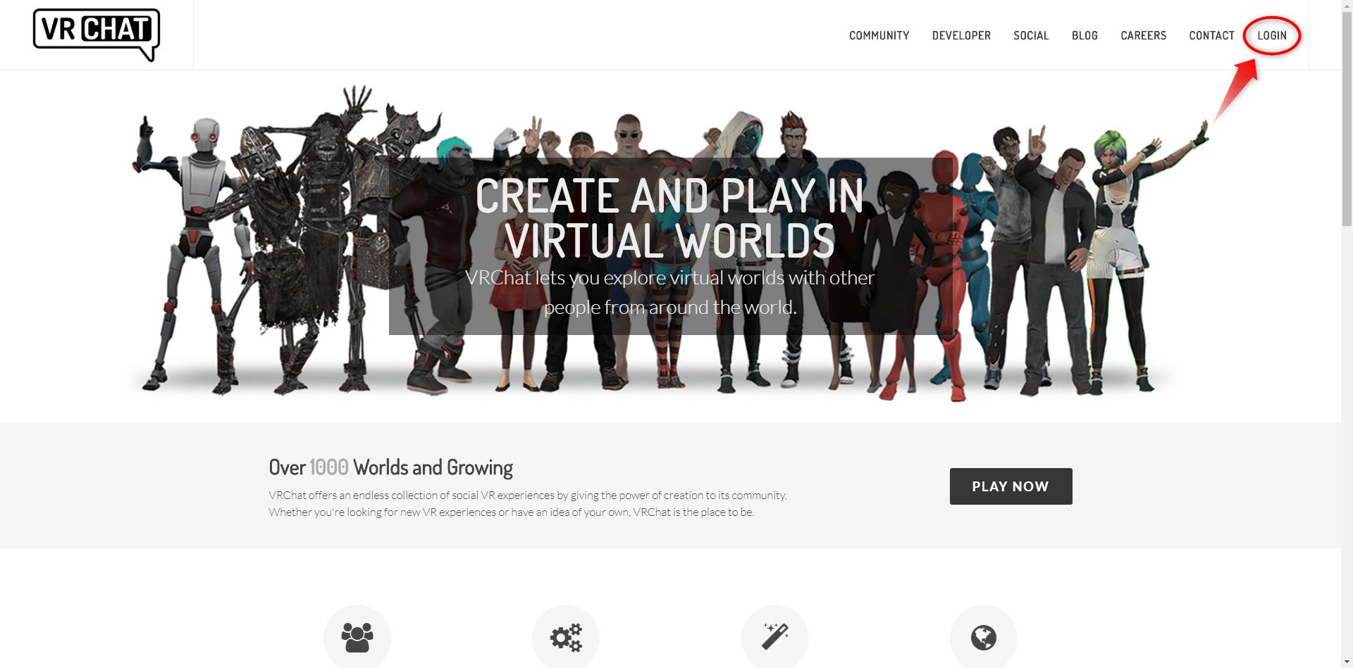 VRChatの公式サイトの様子